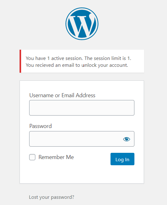 Blocked WordPress Login due to session limit